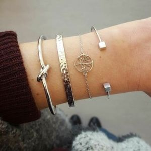 Jewelry - 4 Pieces Boho Metal Knotted Tree Bracelet Cuff Set